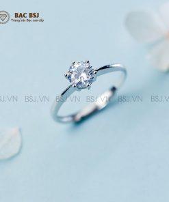 Nhẫn bạc nữ đính đá bạc cao cấp S925. Bạc BSJ