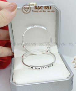 Lắc bạc khắc tên cho bé chất liệu bạc S990 cao cấp tốt cho sức khỏe