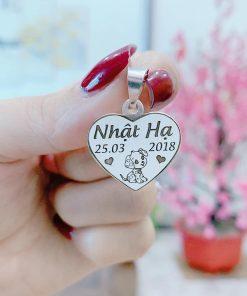 Mặt dây chuyền bạc khắc tên hình trái tim khắc tên theo yêu cầu cho bé gái