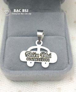 Mặt dây chuyền bạc khắc tên theo yêu cầu hình ô tô cho bé trai