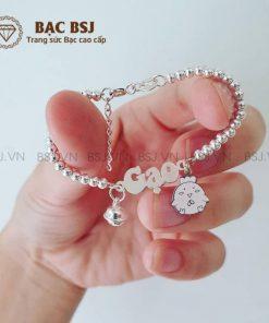 Lắc bạc mặt chữ lắc bi bạc S990 cao cấp kết hợp charm cho bé yêu