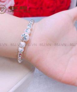 Lắc tay bạc cho bé gái, vòng tay bạc cho bé bạc S990 cao cấp. Bạc BSJ