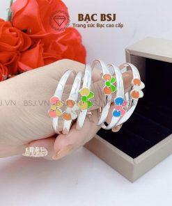 Lắc tay bạc cho bé gái bạc S990 cao cấp khắc tên theo yêu cầu