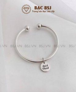 Lắc tay bạc cho bé sơ sinh bạc S990 lắc đặc cứng khắc tên theo yêu cầu